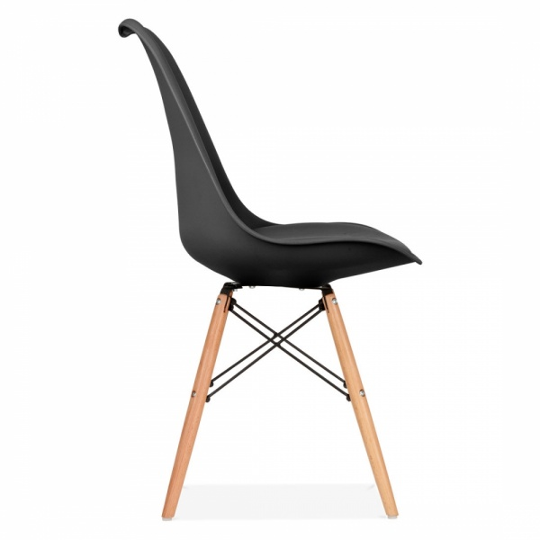 Black Soft Pad Dining Chair with DSW Style Natural Wood Legs | Cult UK