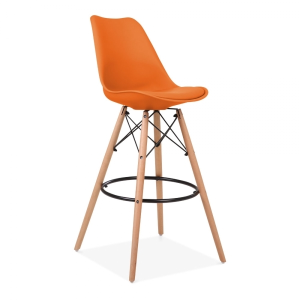 Orange 75cm Bar Stool With Eames Inspired Style Leg