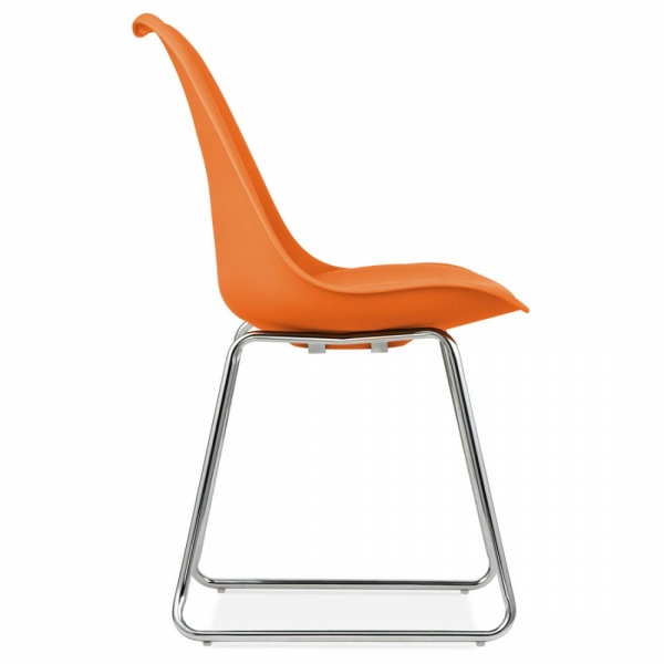 Eames Inspired Orange Dining Chairs With Soft Pad Seat