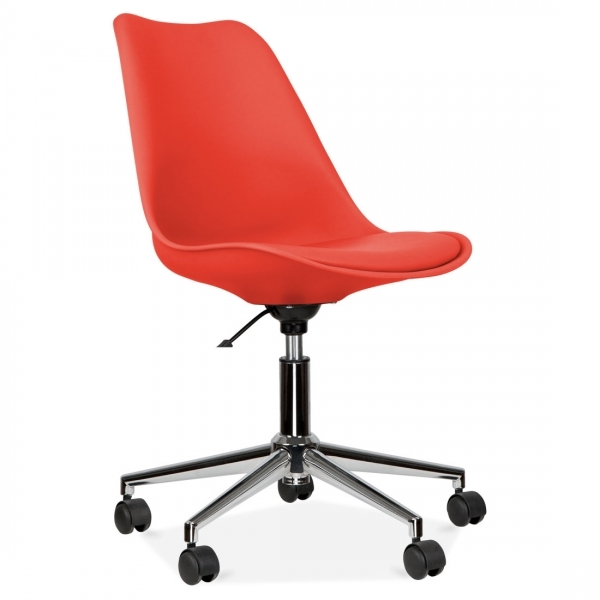Eames Inspired Red Office Chair With Soft Pad Seat