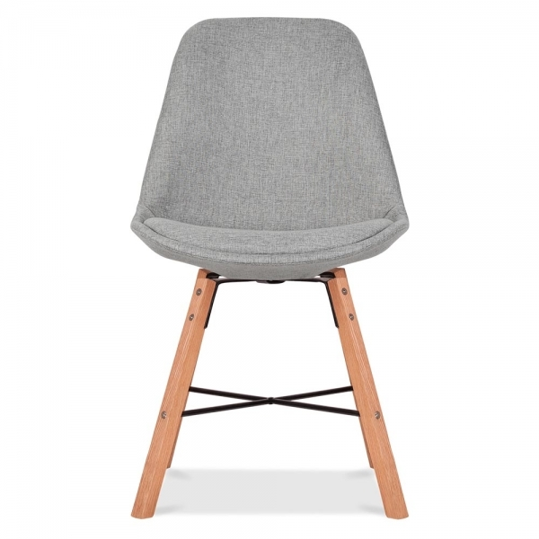 Eames Inspired Soft Pad Upholstered Dining Chair With Cross Brace Legs    Cool Grey