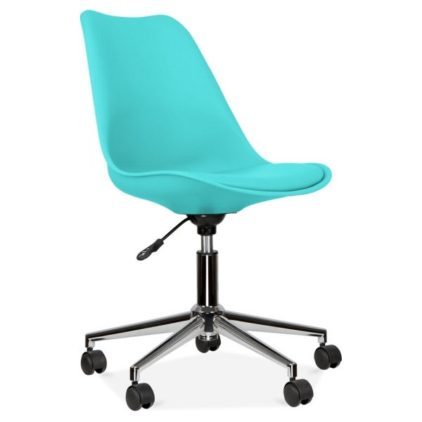 Eames Inspired Turquoise Office Chair With Soft Pad Seat