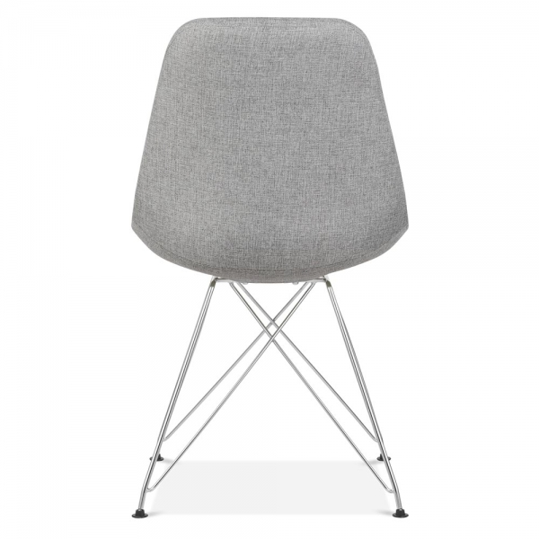 Eames Inspired Upholstered Dining Chair With Eiffel Metal Legs   Cool Grey
