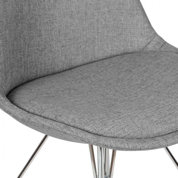 Eames Inspired Upholstered Dining Chair With Geometric Metal Legs   Cool  Grey