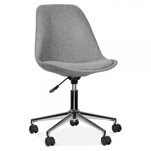 Eames Inspired Upholstered Office Chair With Soft Pad Seat Cool Grey