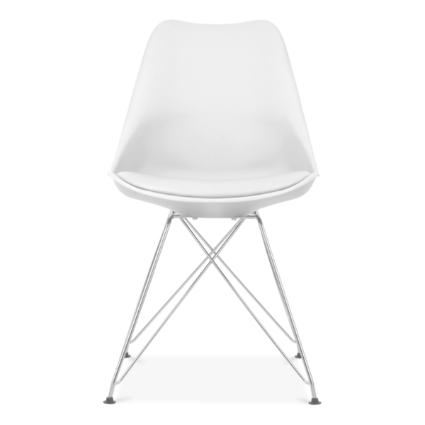 Delightful Eames Inspired White Dining Chair With Eiffel Metal Legs
