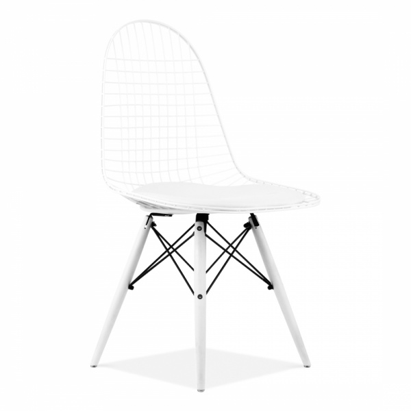 Eames style white dkr wire chair modern dining chair cult uk eames inspired white dkr wire chair with wood legs keyboard keysfo Gallery
