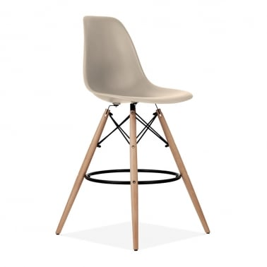 Eames Style DSW Stool with Backrest, Beige 71cm