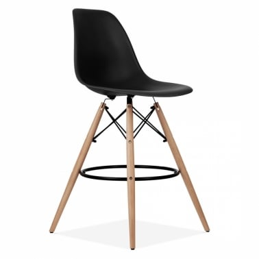 Eames Style DSW Stool with Backrest, Black 71cm