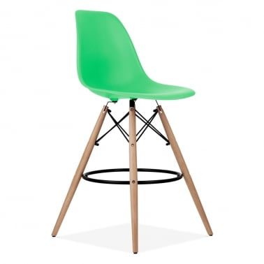 Eames Style DSW Stool with Backrest, Bright Green 71cm