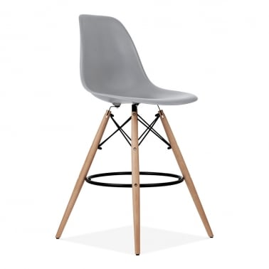 Eames Style DSW Stool with Backrest, Cool Grey 71cm