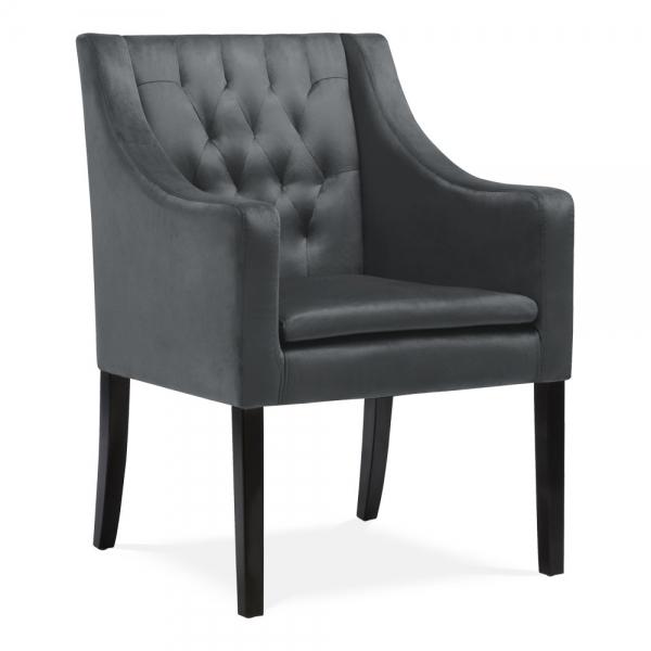 Dark Grey Eda Dining Armchair Velvet Upholstered |Cult UK