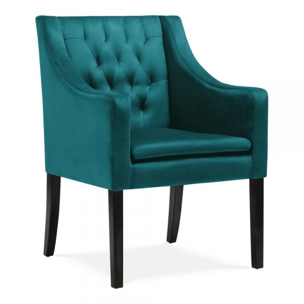 Teal Eda Dining Armchair Velvet Upholstered  Cult UK