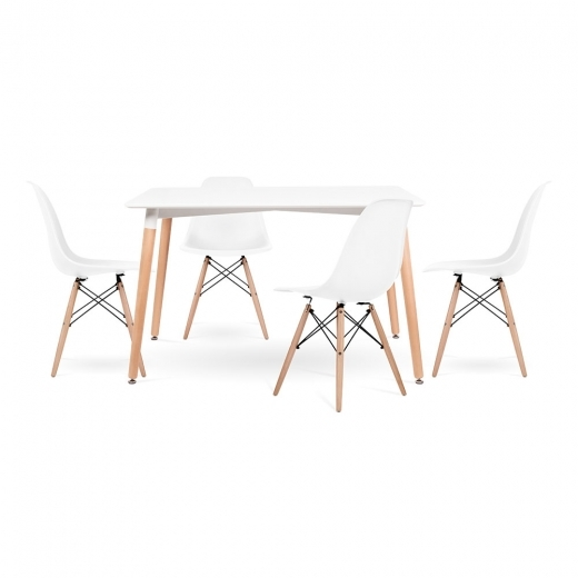 Cult Living Edelweiss and DSW Dining Set - 1 Rectangular Table & 4 Chairs - White