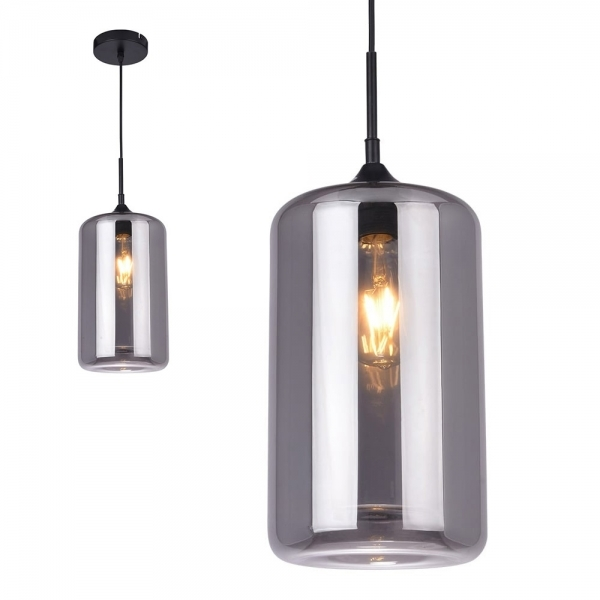 Edison Pod Modern Gl Pendant Light Black