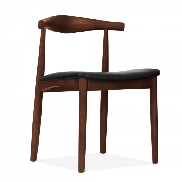 Elbow Wooden Dining Chair Solid Ash Wood Brown
