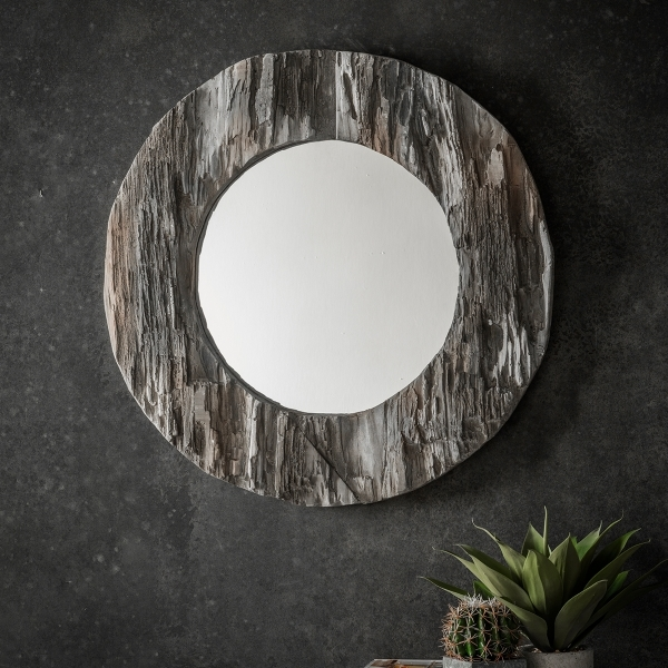 Era Rustic Style Driftwood Round Mirror Solid Wood