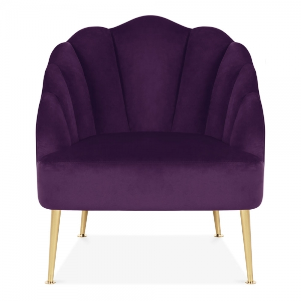 Purple Evelyn Art Deco Lounge Chair Velvet Upholstered