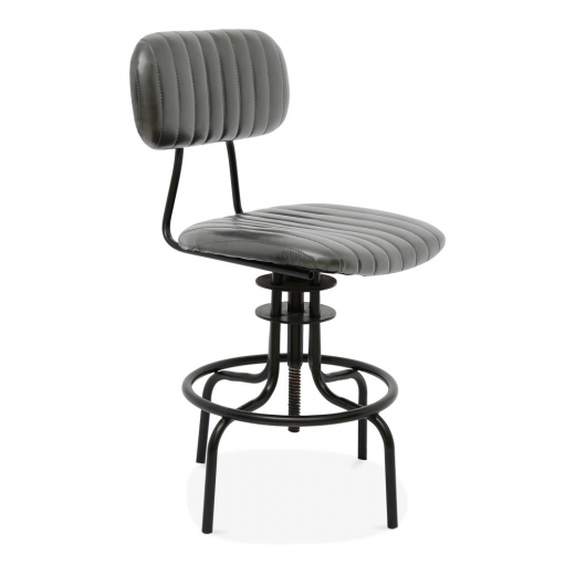 Cult Living Ezra Metal Swivel Bar Chair with Backrest, Faux Leather Upholstered, Grey 66cm