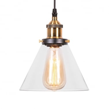 Factory Glass Cone Pendant Light - Antique Gold / Clear
