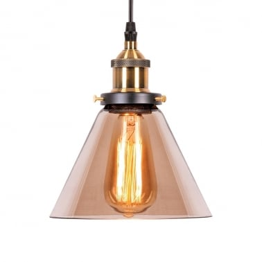Factory Glass Cone Pendant Light - Antique Gold / Coffee
