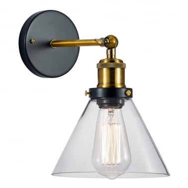 Factory Glass Cone Wall Light - Gold / Clear