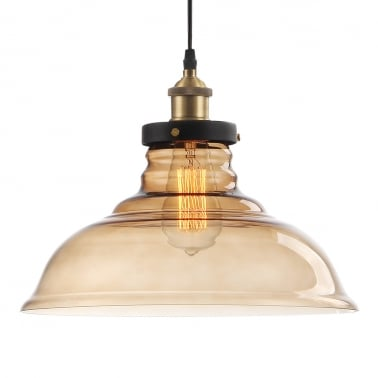 Factory Glass Dome Lampshade Pendant Light - Coffee
