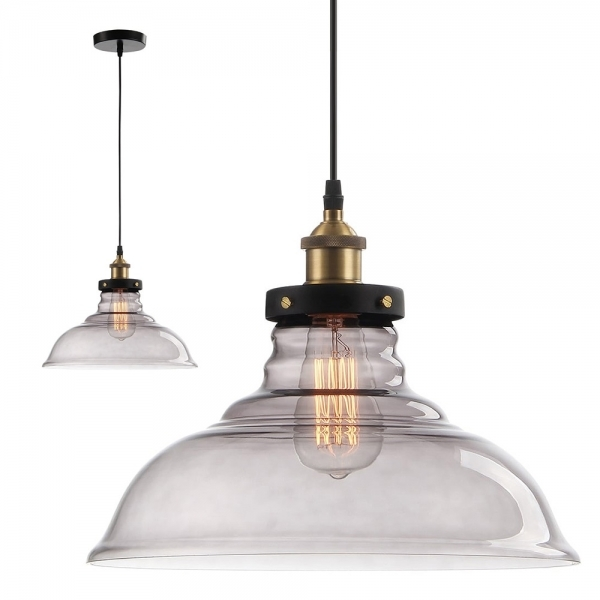 Black Factory Glass Large Dome Pendant Light Commercial