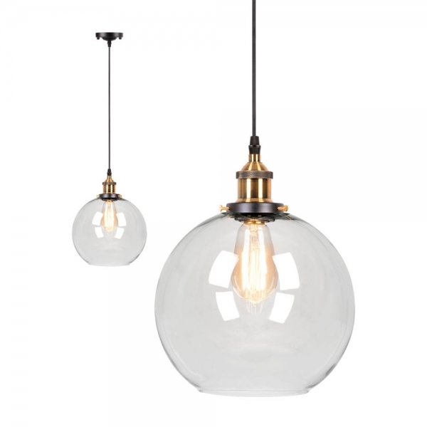 promo code 9ebbf 95329 Factory Glass Sphere Pendant Light - Antique Gold / Clear