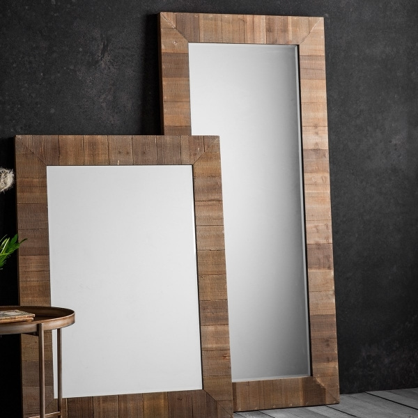 Farmhouse Rustic Full Length Leaner Mirror Solid Wood