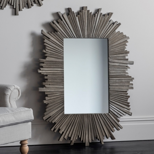 Flare Sunburst Large Rectangle Mirror, Grey