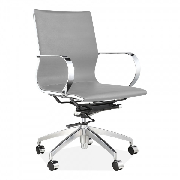 Forbes Short Back Office Chair Faux Leather Upholstered Light Grey