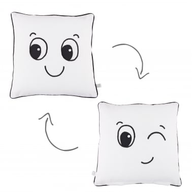 Fun Faces Reversable Cotton Cushion, White