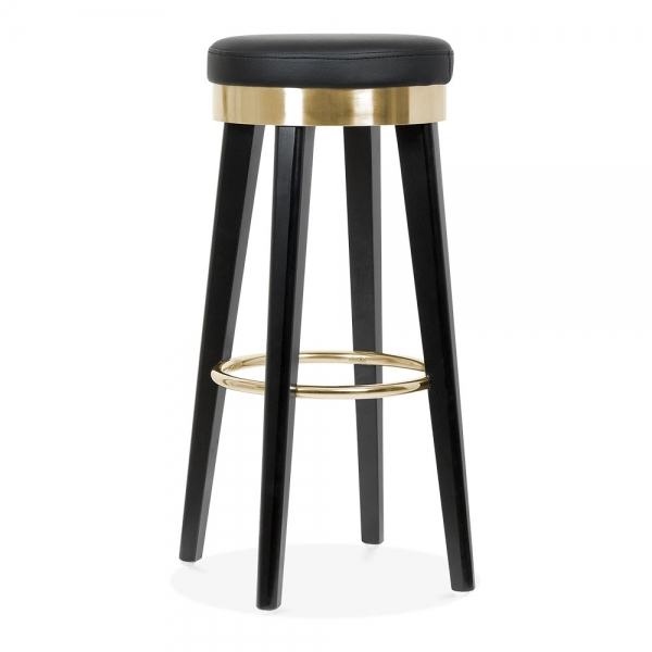 Prime Fusion Wooden Bar Stool With Metal Ring Black Gold 75Cm Machost Co Dining Chair Design Ideas Machostcouk