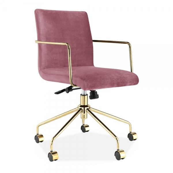 Pink Velvet Gable Short Back Padded Office Chair   Office ...