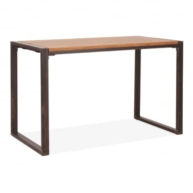 Gastro Metal Dining Table, Solid Elm Wood, Rustic 120cm