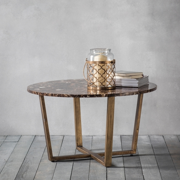Gatsby Round Marble Coffee Table Brown & Gold