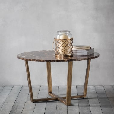 Gatsby Round Marble Coffee Table Brown And Gold