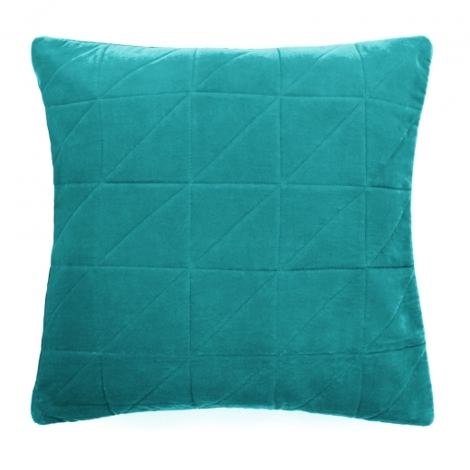 Cult Living Geometric Quilted Velvet Cushion, Teal