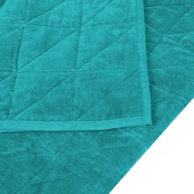 Geometric Quilted Velvet Throw, Teal