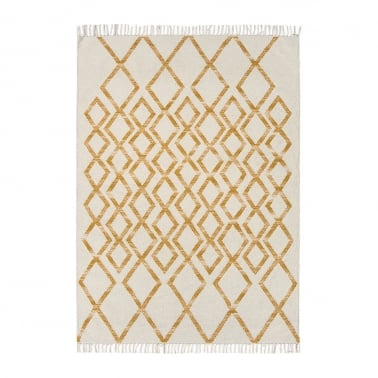 Hackney Hand Woven Rug, Cotton Wool Blend, Yellow Diamond