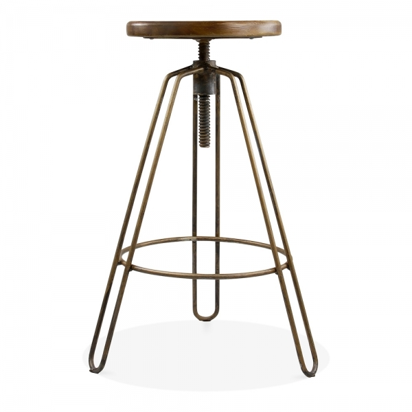 Rustic Hairpin Clipper Swivel Bar Stool Adjustable Height