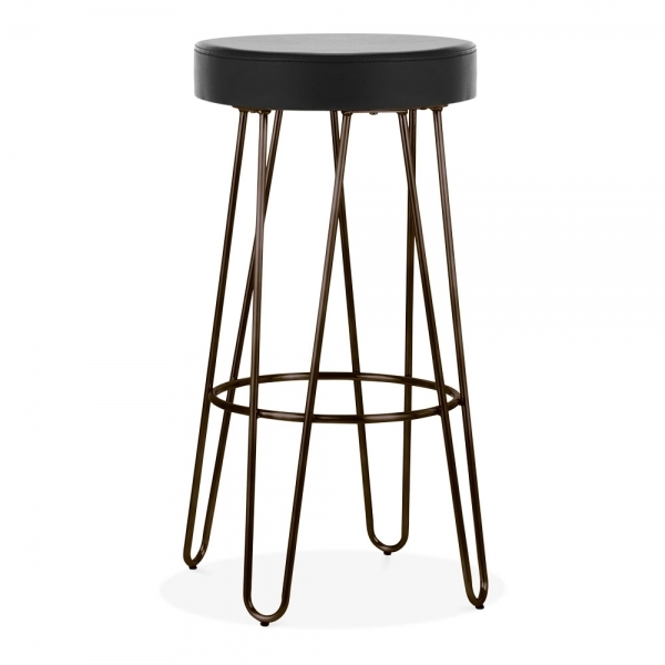 Stupendous Hairpin Metal Bar Stool Black Faux Leather Seat Rustic 83Cm Theyellowbook Wood Chair Design Ideas Theyellowbookinfo