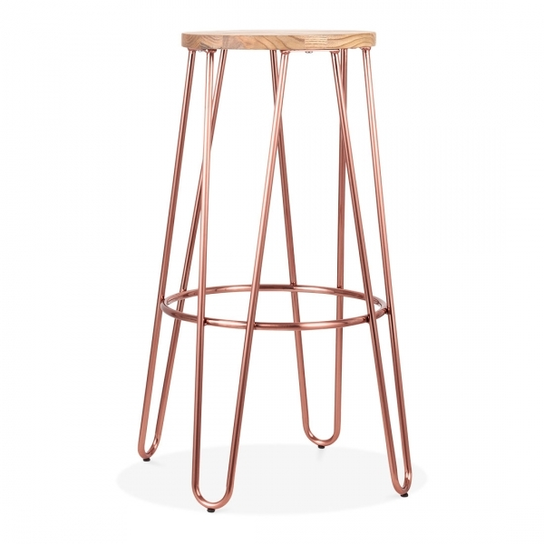 Fabulous Hairpin Metal Bar Stool With Natural Wood Seat Copper 76Cm Pabps2019 Chair Design Images Pabps2019Com
