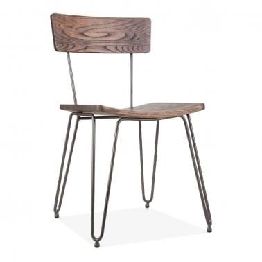 Hairpin Metal Dining Chair with Wood Seat, Rustic