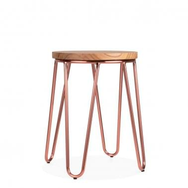 Hairpin Metal Low Stool with Natural Wood Seat, Copper 46cm