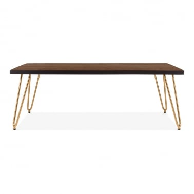 Hairpin Rectangular Coffee Table, Solid Elm Wood Top, Brass 122cm