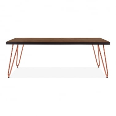 Hairpin Rectangular Coffee Table, Solid Elm Wood Top, Copper 122cm