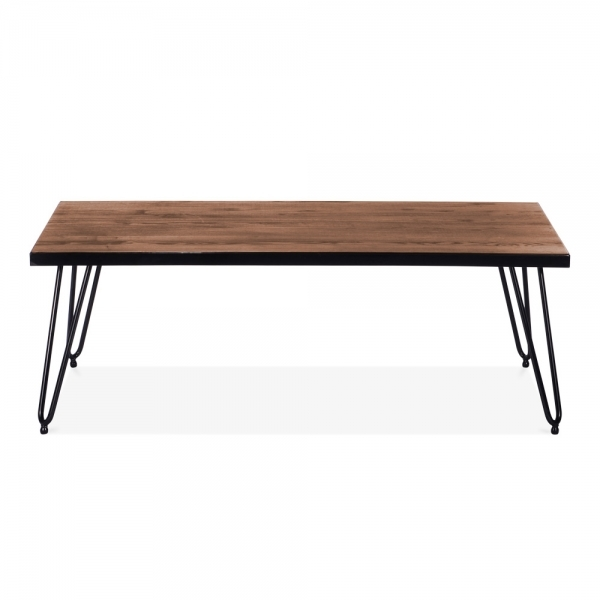 Gunmetal Coffee Table with Wood Top Gunmetal 122cm