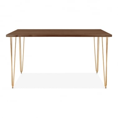 Hairpin Rectangular Dining Table, Solid Elm Wood Top, Brass 140cm